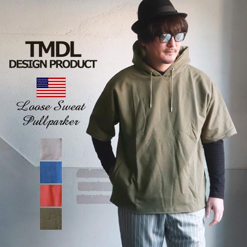 TMDL ルーズシルエット ミニ裏毛 スウェット 半袖 プルパーカー