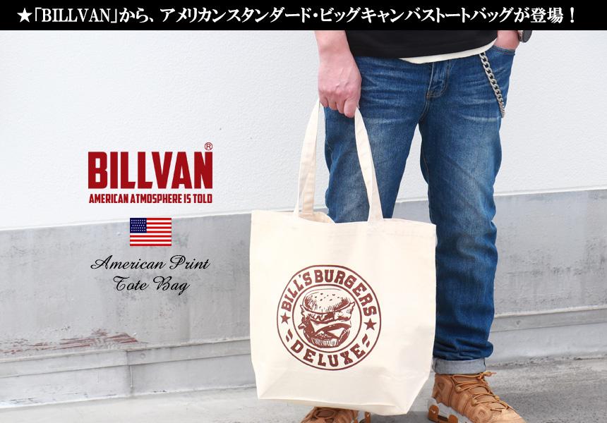 BILLVAN ナチュラル キャンバス BILLS BURGERS トートバッグ ビルバン
