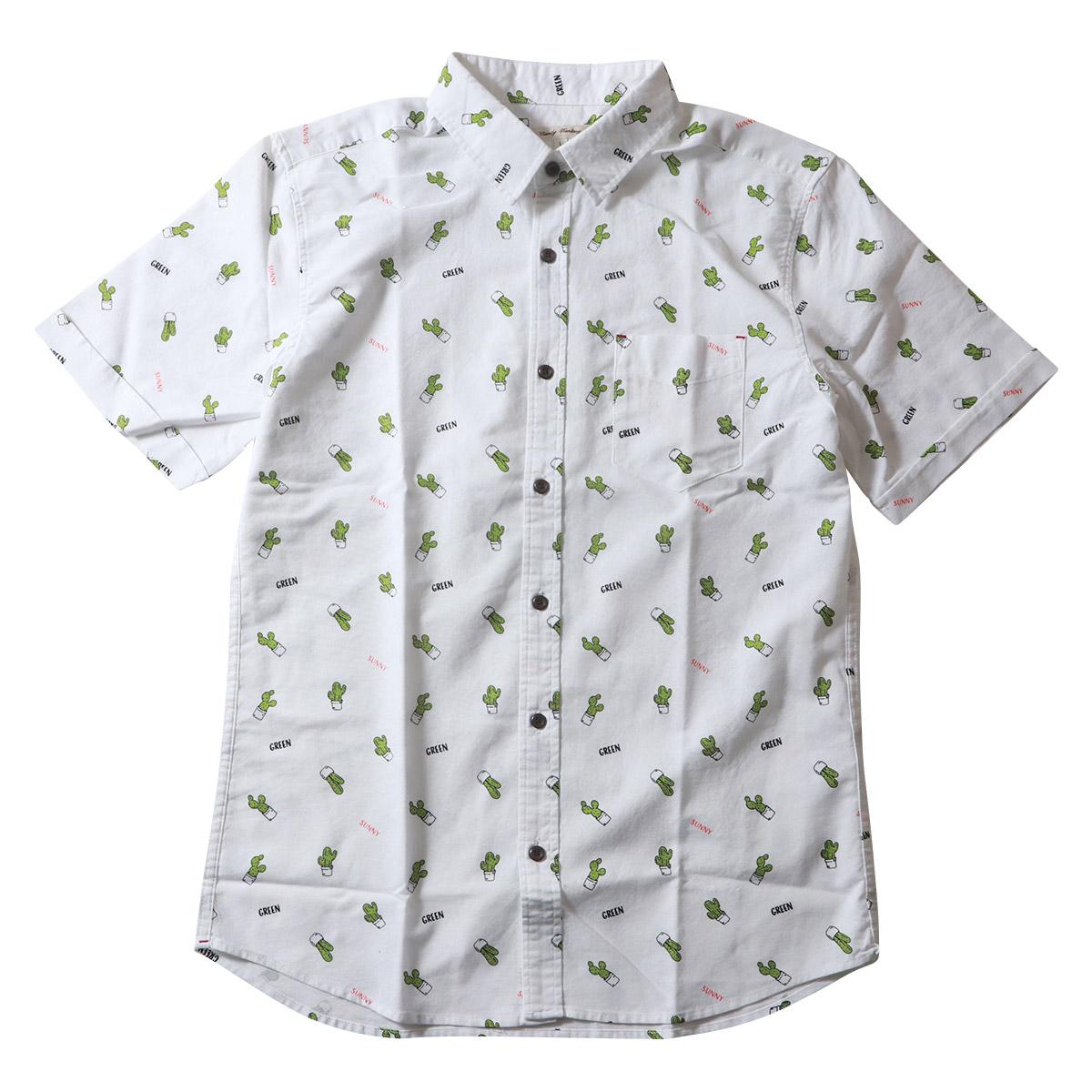 総柄 サボテン プリント 半袖オックスフォード シャツ メンズ