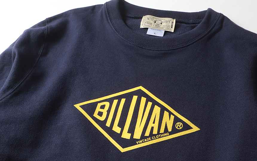スウェット トレーナー メンズ BILLVAN ビルバン アメカジ・定番ひし形ロゴ ミニ裏毛スウェット・ロングTシャツ メンズ アメカジ