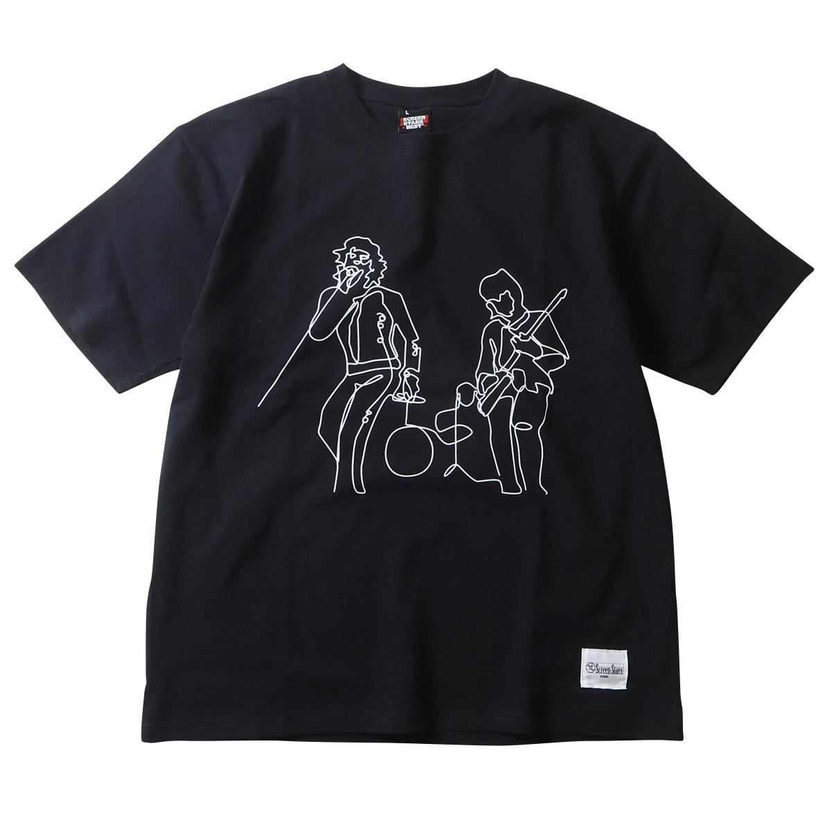 SCREEN STARS スクリーンスターズレコーズ BROWN SUGAR 線画プリント 半袖 アメカジ Tシャツ C柄