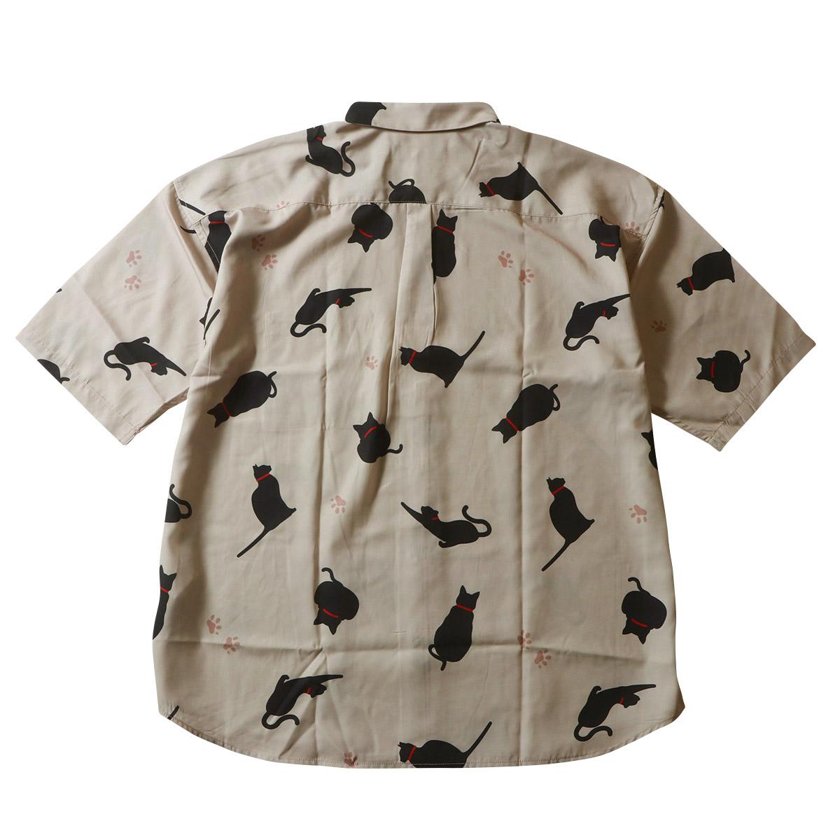 ネコ プリント 接触冷感 総柄半袖シャツ ドロップショルダー