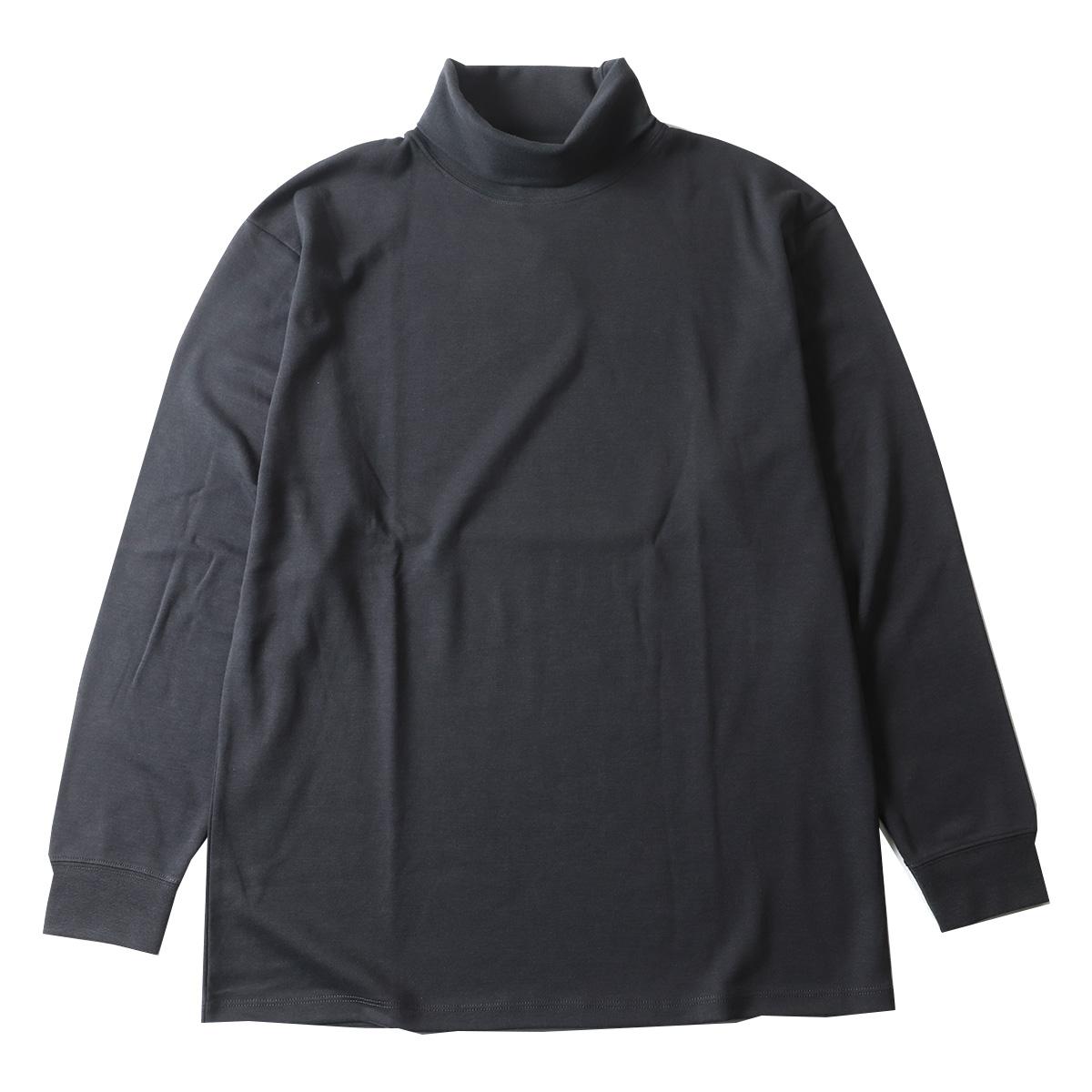 リサイクル ポリエステル ポンチ タートルネック 長袖カットソー ロングTシャツ ロンT