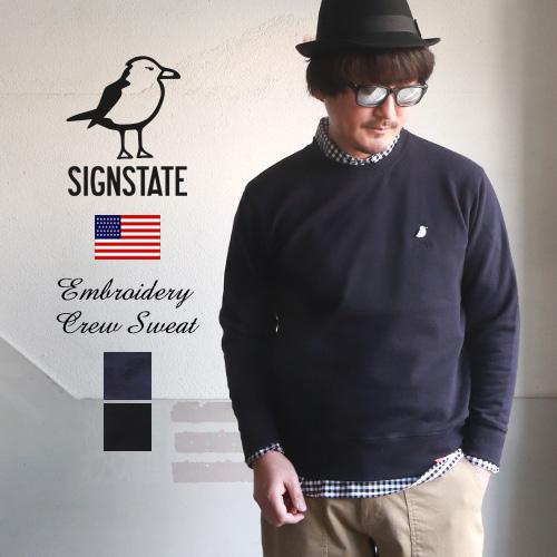 スウェット メンズ トレーナー SIGN STATE  サインステイト ウミネコ刺繍 スタンダードスウェット 裏毛トレーナー 丸首