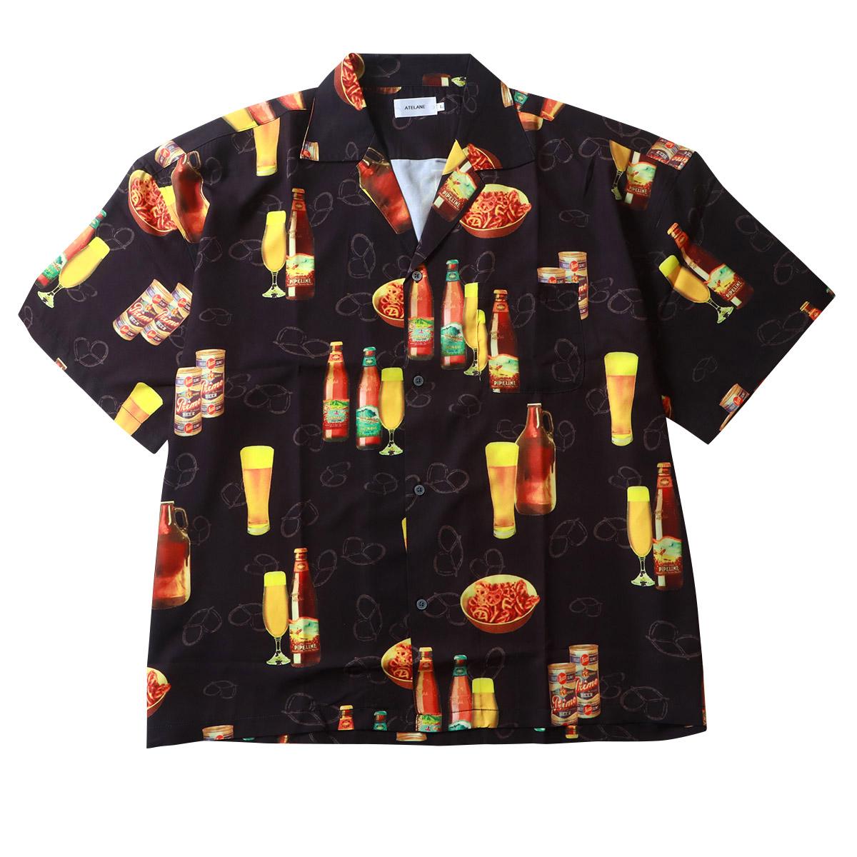 ビール総柄 ポリストレッチ 半袖 オープンシャツ