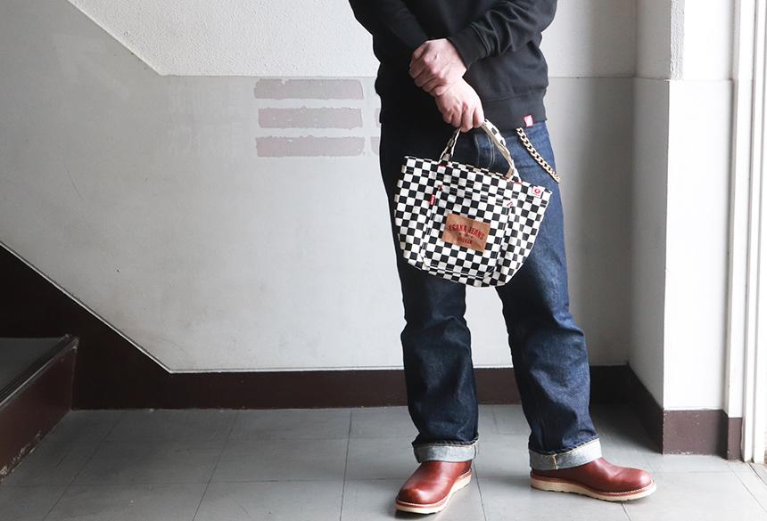 江坂ジーンズ 日本製 チェッカーフラッグ・ミニ トートバッグ Billvan ランチバッグ・エコバッグ 市松模様