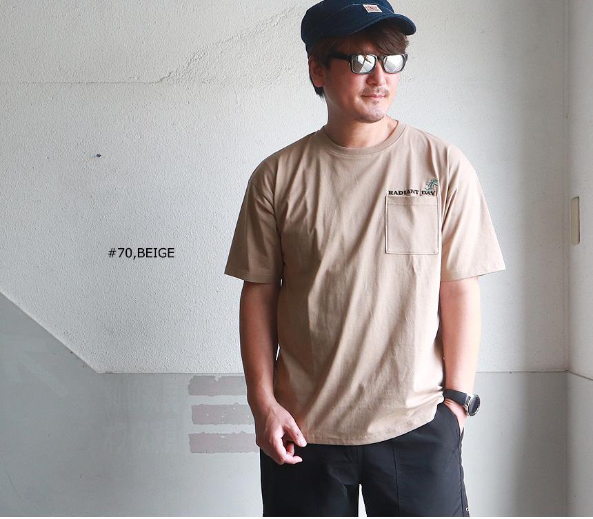 RADIANT DAY レトロイラスト プリント 半袖ポケットTシャツ B柄