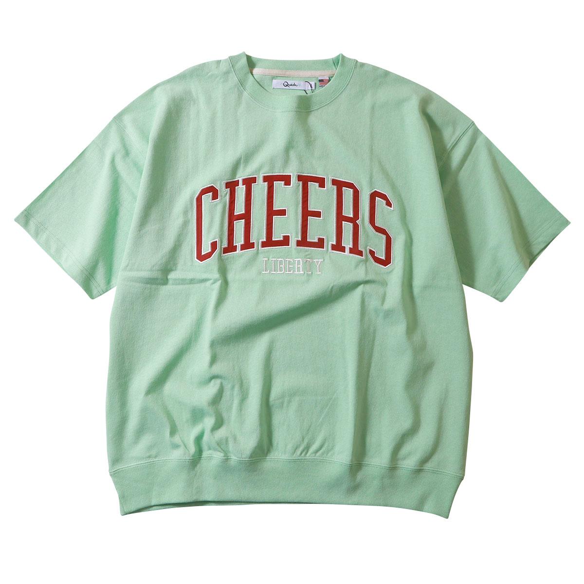CHEERS カレッジ柄 パッチクロス リブ付き半袖Tシャツ USAコットン アメカジ