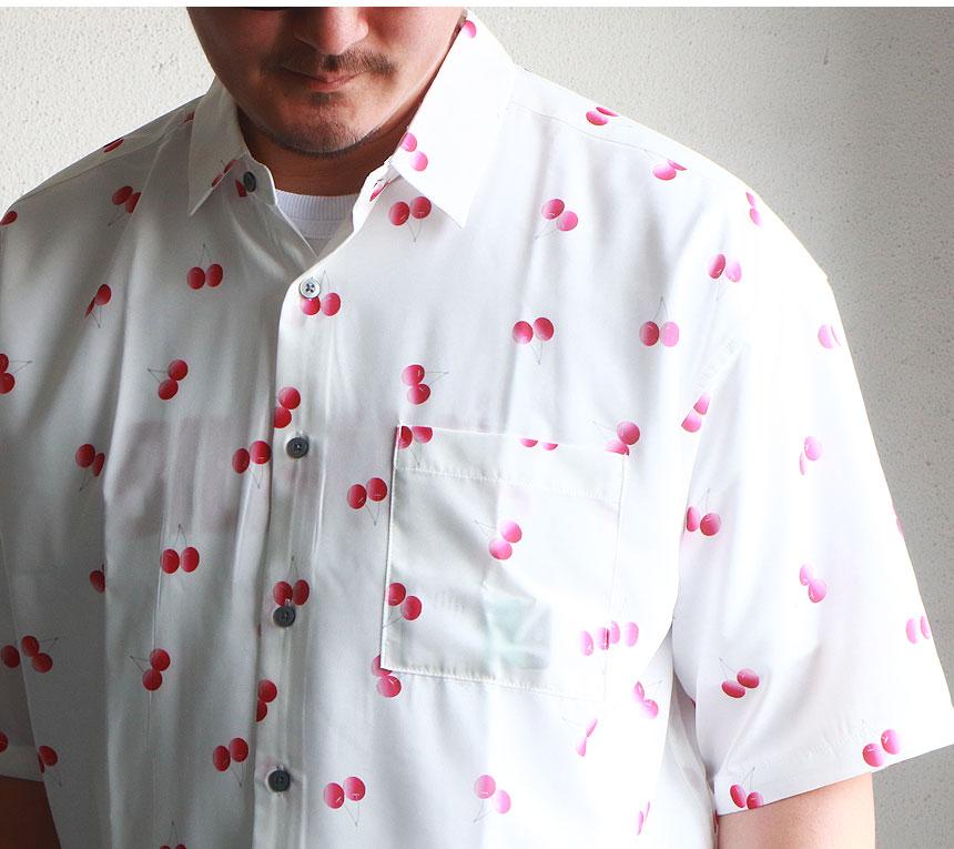 チェリー プリント 接触冷感 総柄半袖シャツ ドロップショルダー