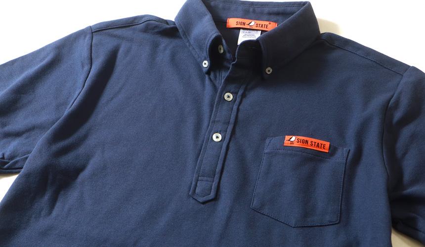 SIGN STATE サインステート・ポケット付き 機能素材 ボタンダウンポロシャツ アメカジ サーフ