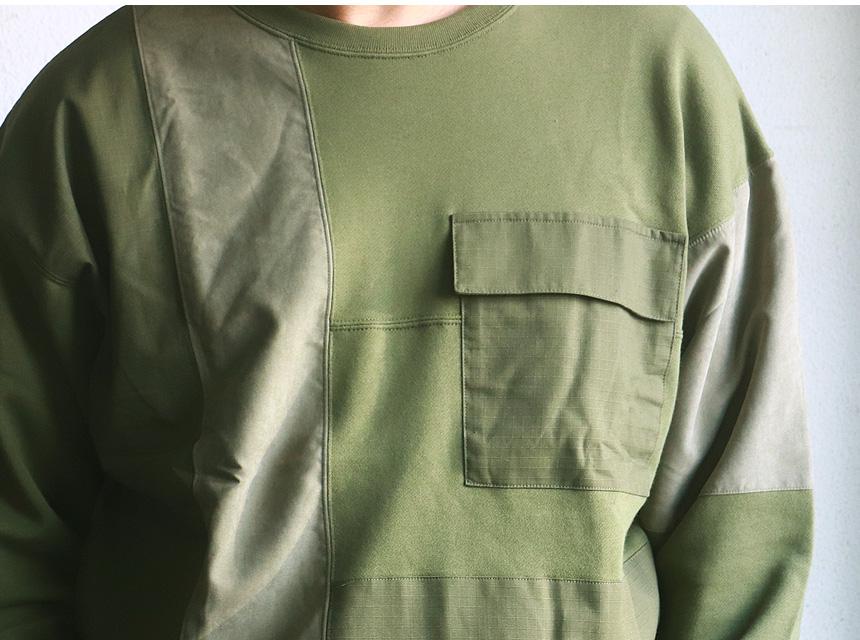 オーガニックコットン 布帛切替え 異素材リメイク風 裏毛スウェット 古着 アメカジ メンズ
