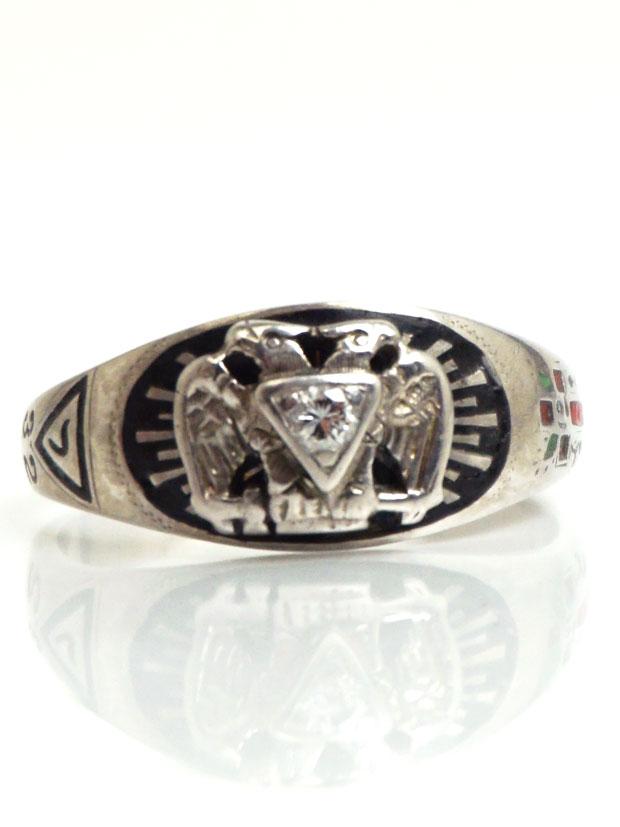 Masonic Ring 32nd Degree RIng 10k White Gold