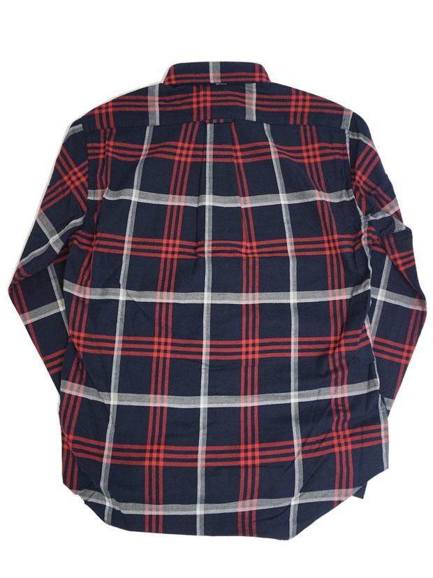JOHN'S Check BD Shirt NAVY/RED