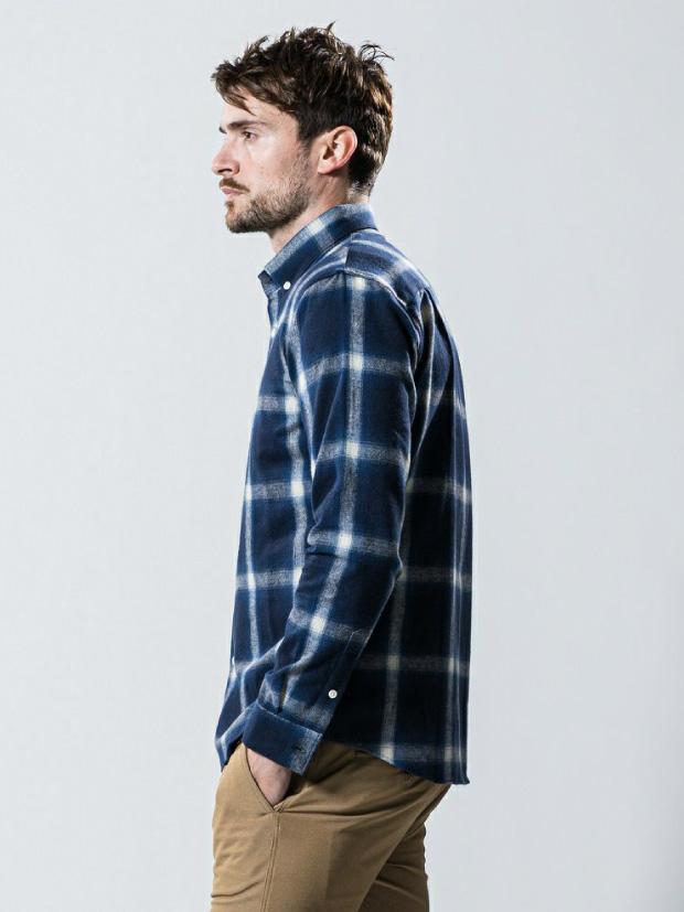wjk flannel check B.D. / NAVY