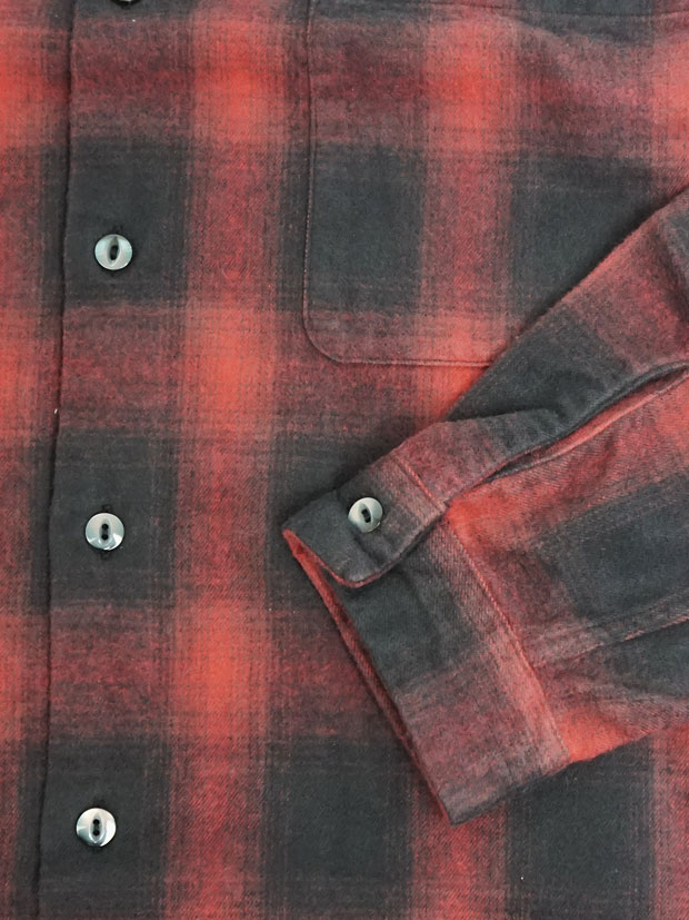JOHN'S Ombre Open Collar Plaid RED