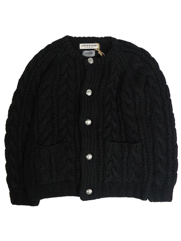 JOHN'S x LOCKWOOD Hand Knit Cable Concho Cardigan BLACK