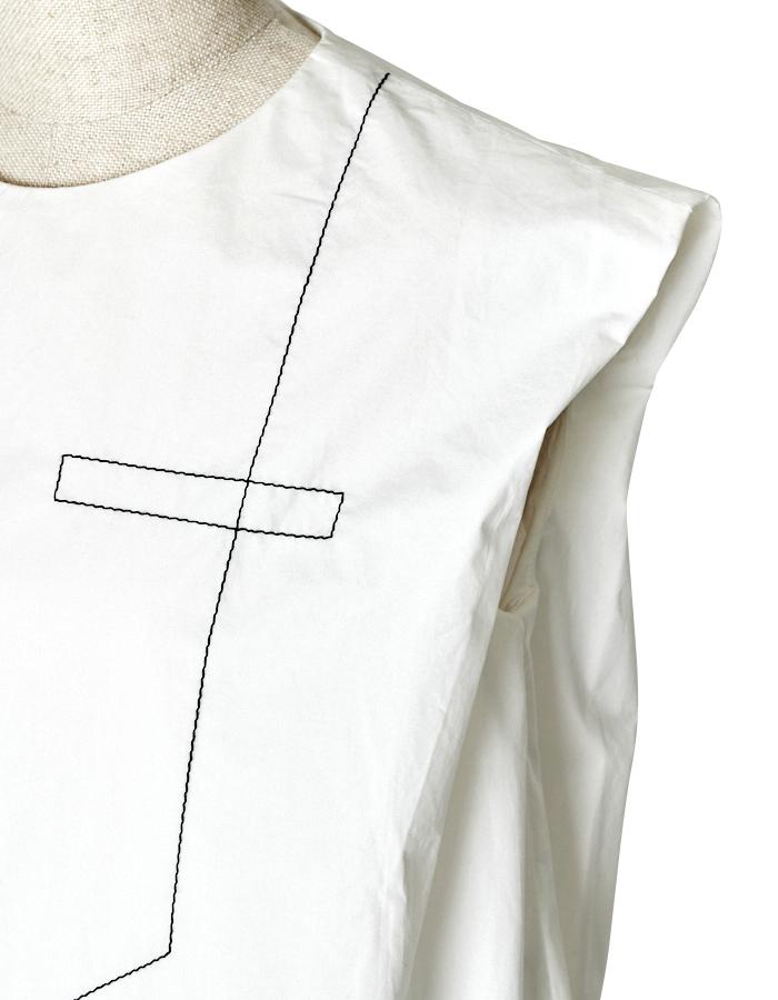 Stitch Tiered Stripe One-piece / white