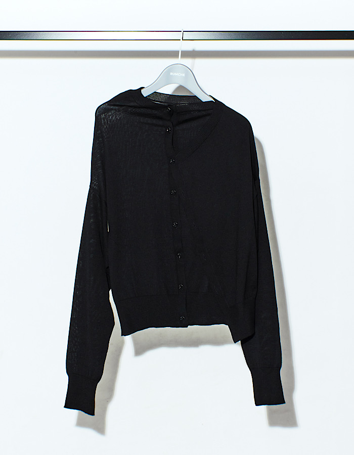 Asymmetry 2way Cardigan / black