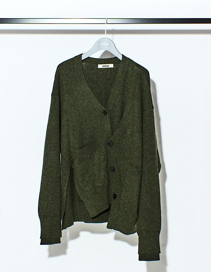 Asymmetry 2way Big Cardigan / khaki