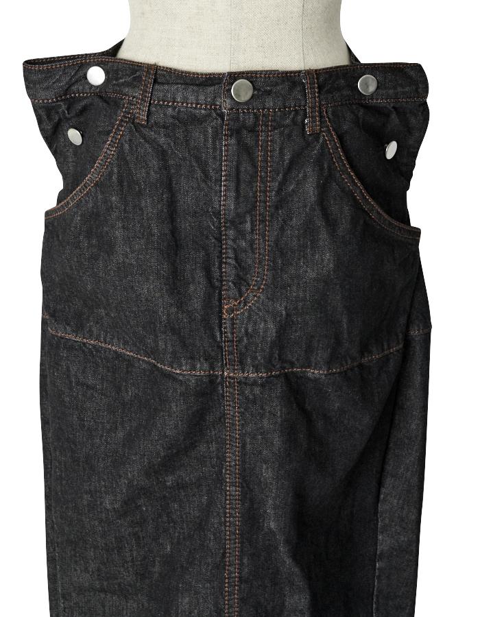 Stitch Denim Skirt / black