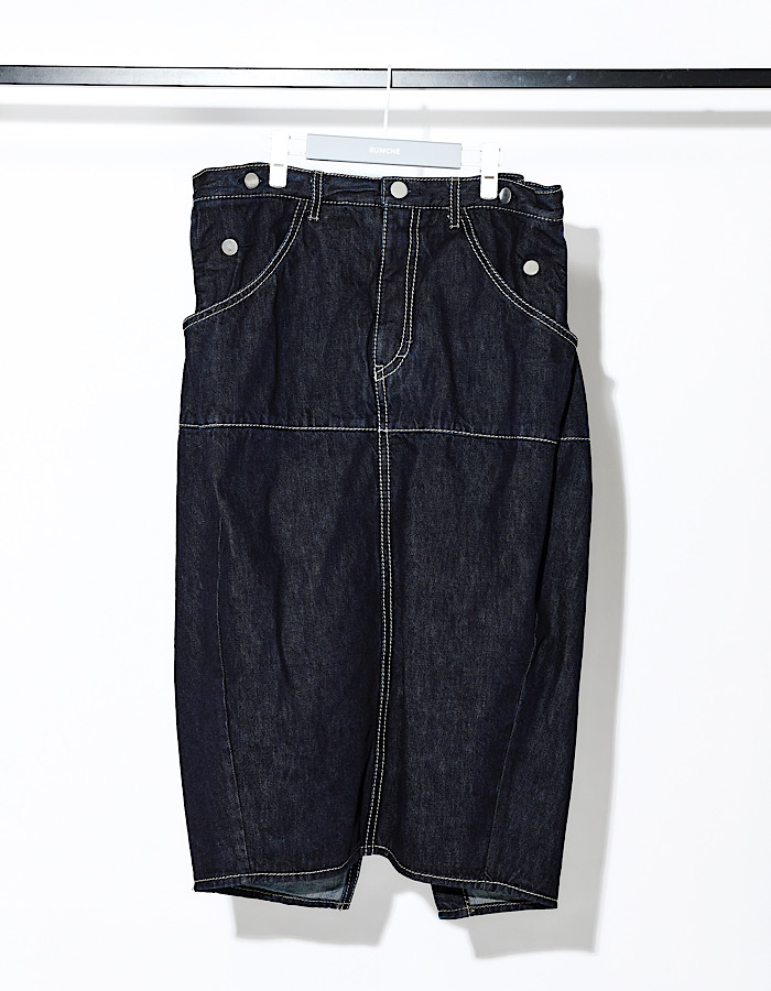 Stitch Denim Skirt / Indigo