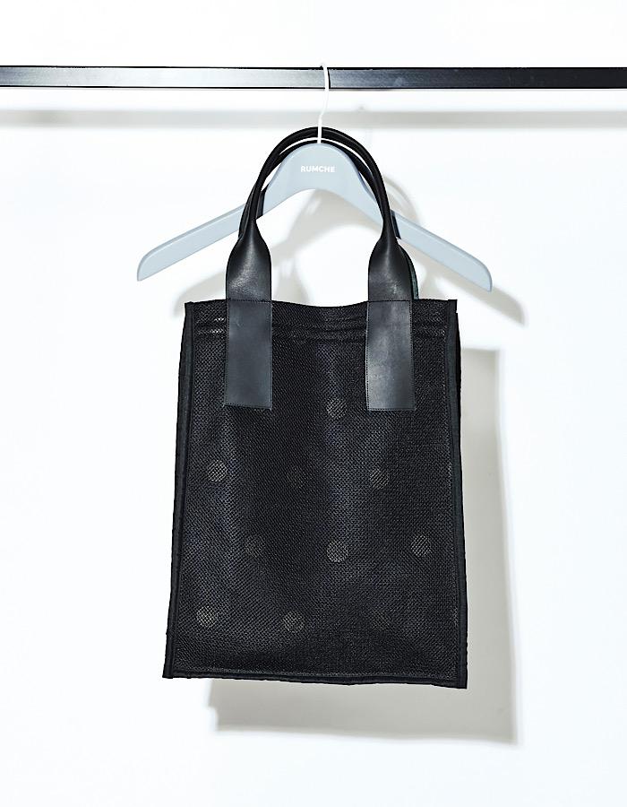 Dot Rubber Mesh Tote Bag / black