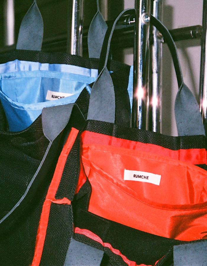 Dot Rubber Mesh Tote Bag / orange