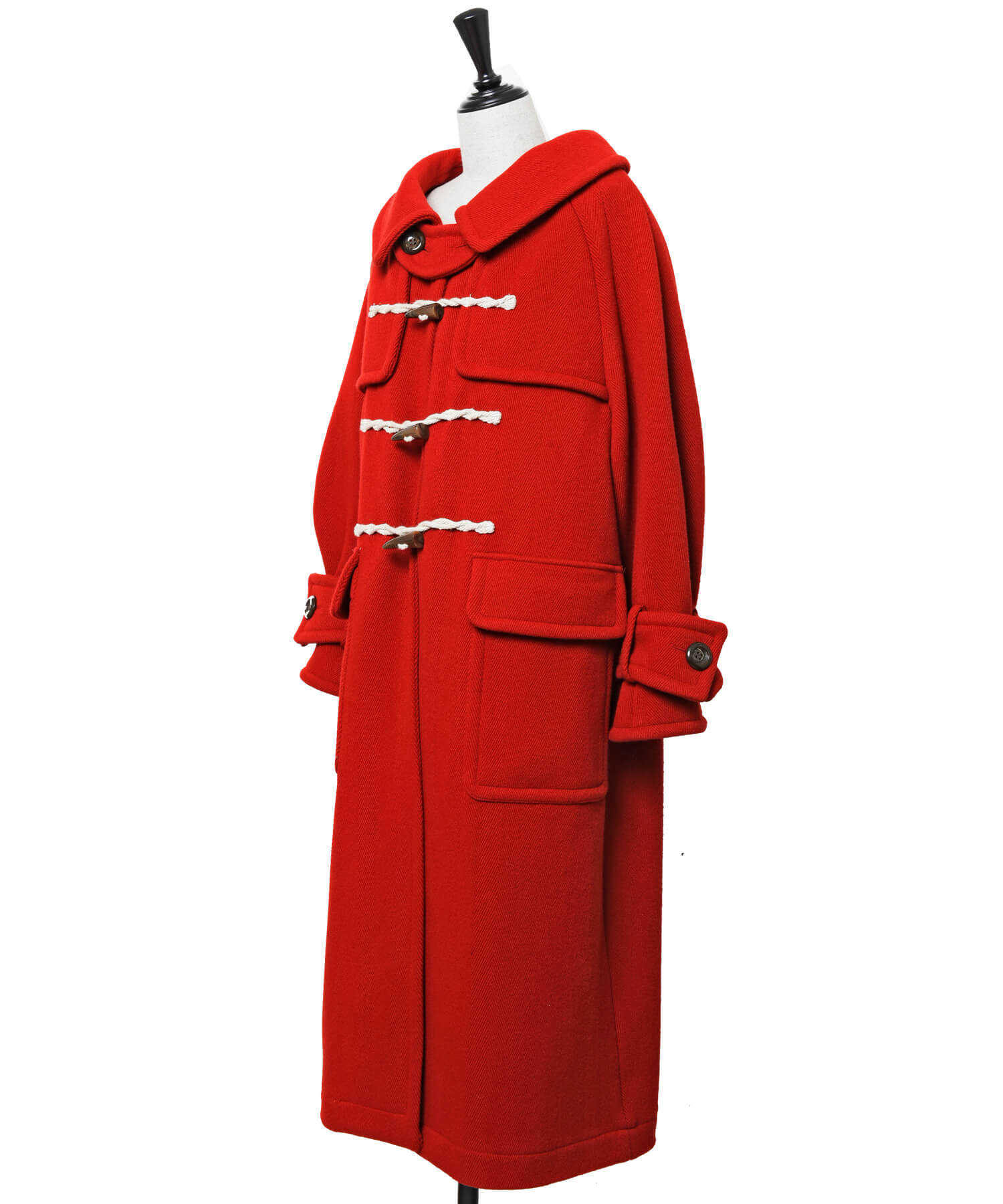 Herringbone Duffle Coat / red