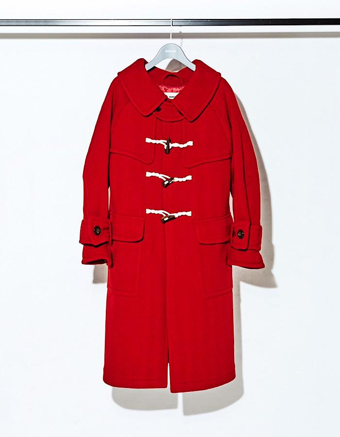 Herringbone Duffle Coat / red
