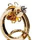 Stone Hoop Pierced Earrings / gold