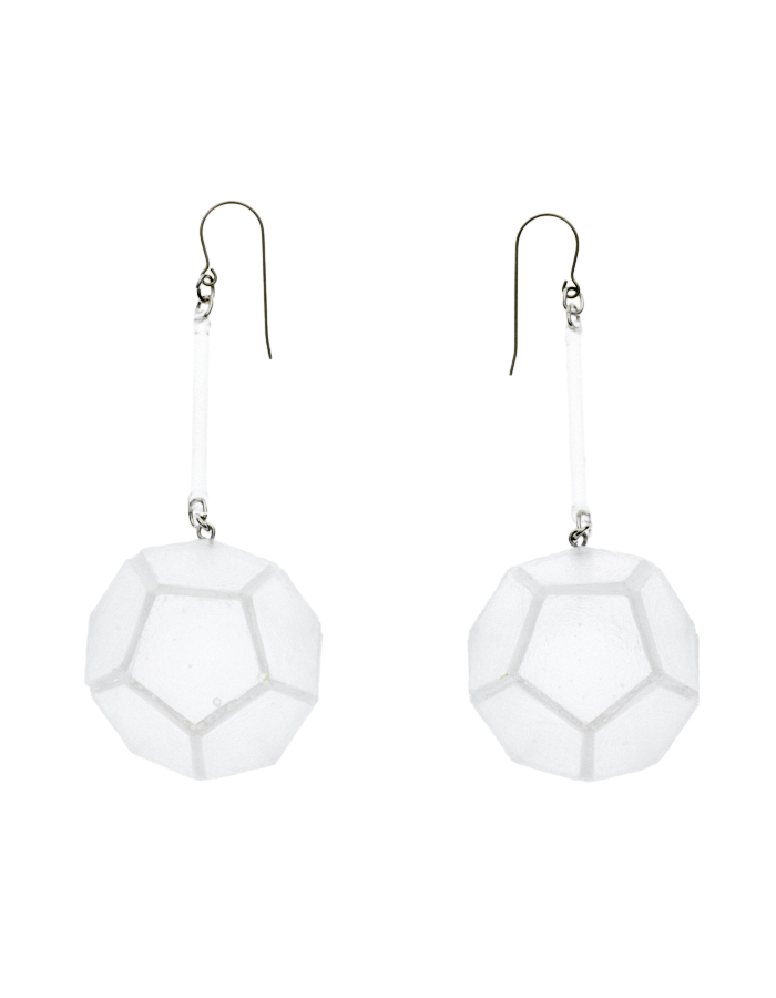 Dodecahedron Pierced Earrings / clear