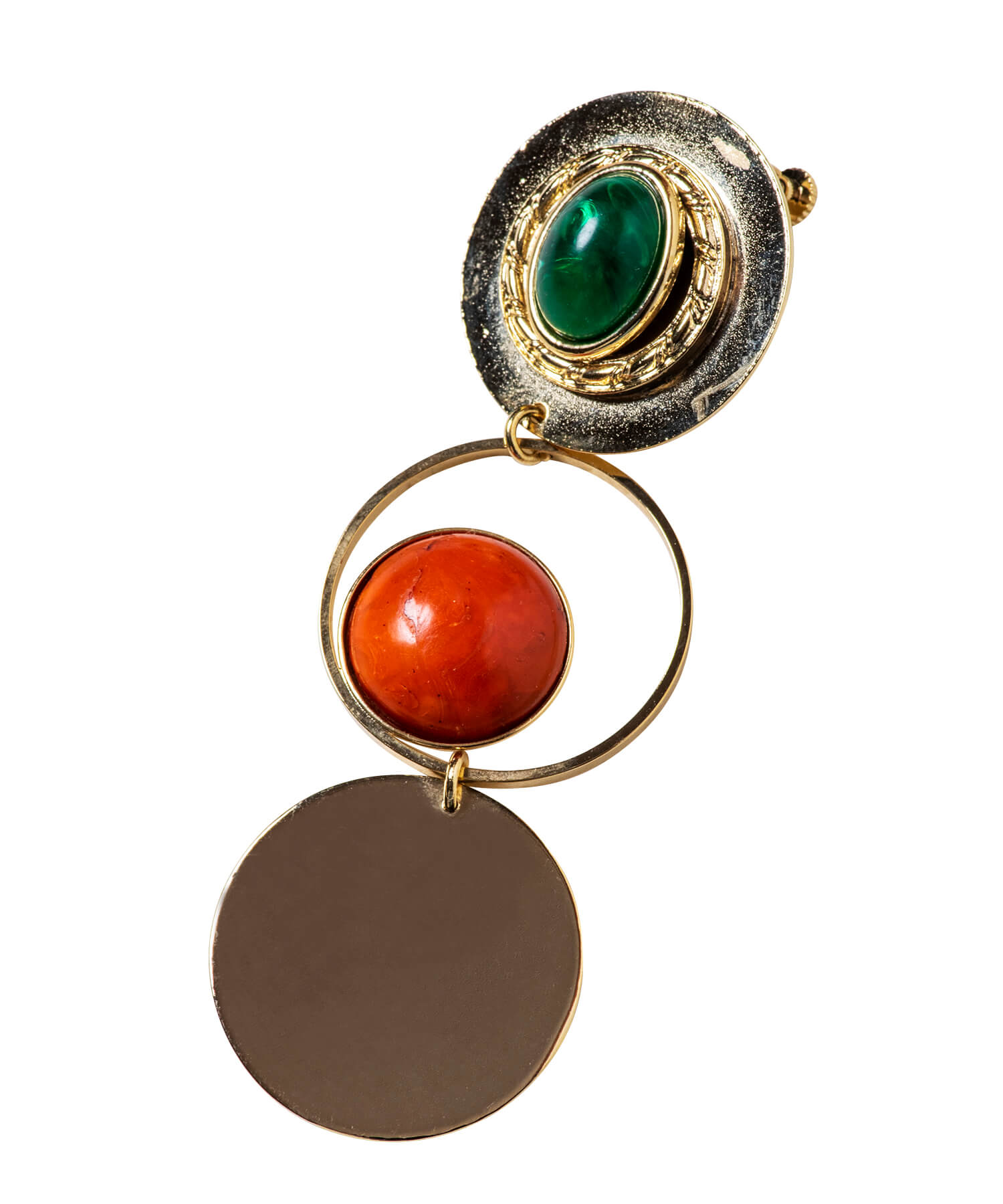 Stone Circle Pierced Earrings / gold