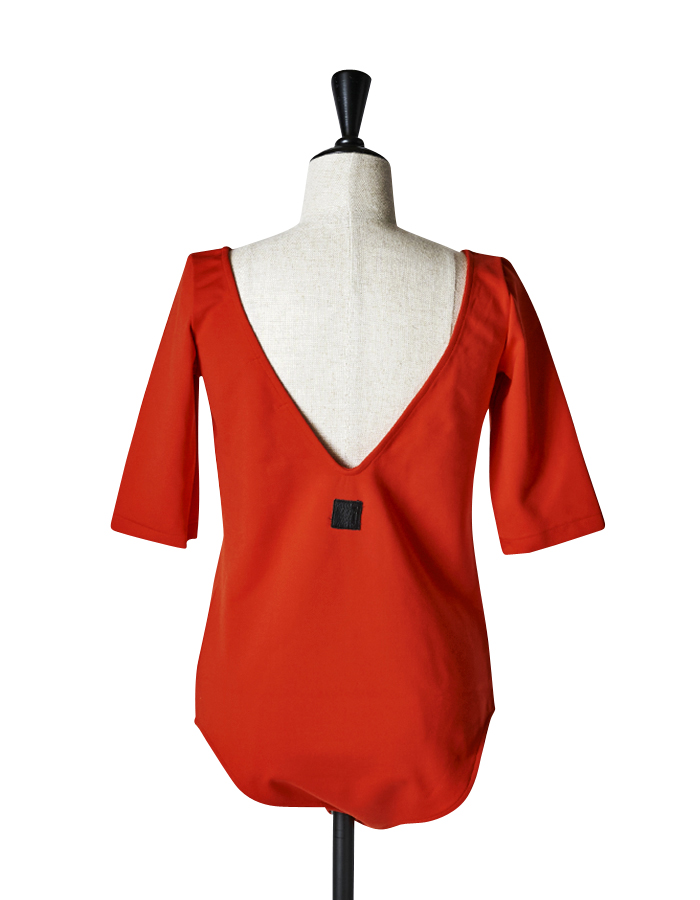 Open Back Body Suit / red