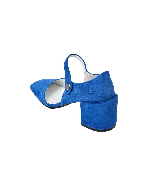 Open Toe Square Pumps / blue