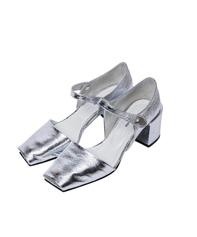 Open Toe Square Pumps / silver
