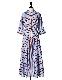 Silk Cotton Stripe One-piece / sax blue