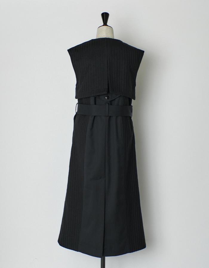 Knit Bonding Long Vest / black