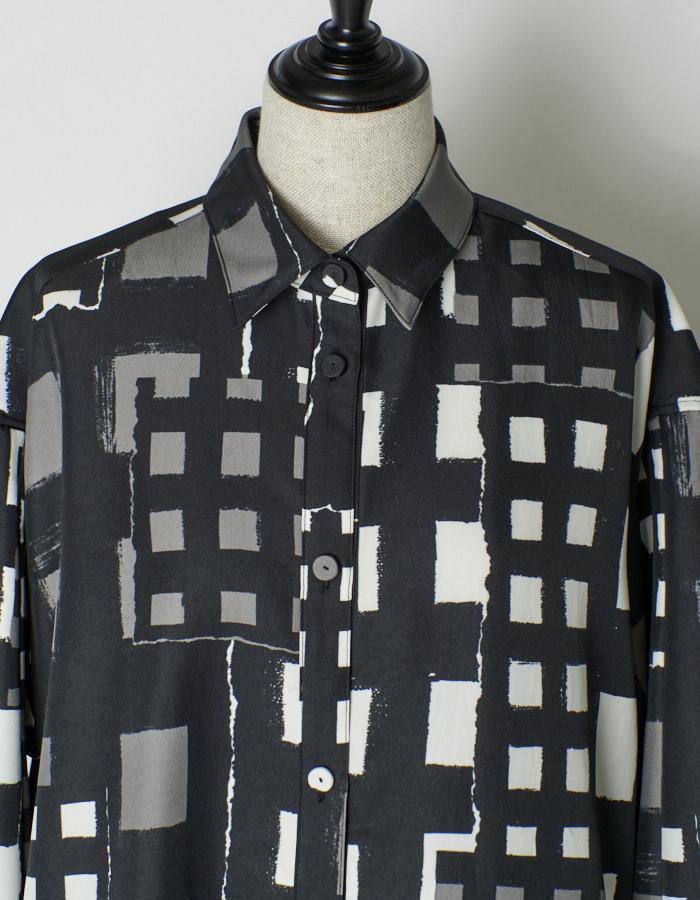 Original Check Print Shirt Dress / check