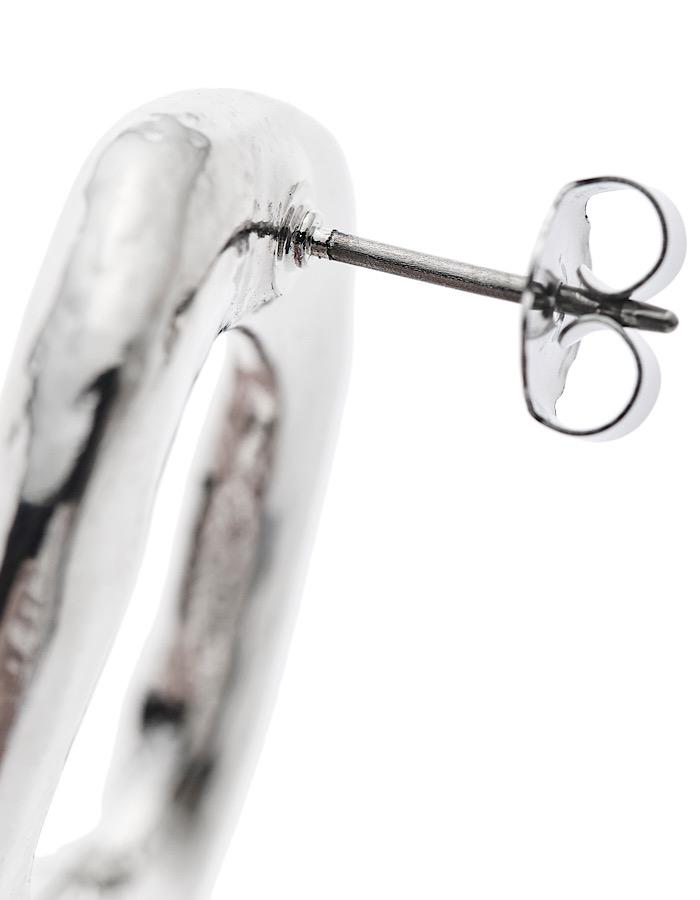 R Letter Pierced Earrings / silver