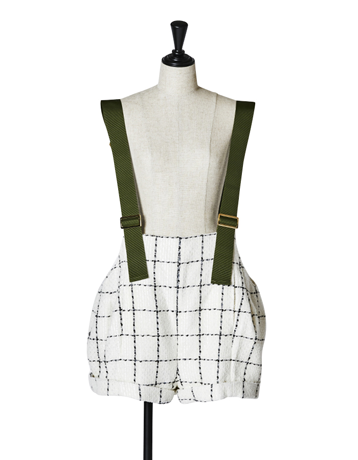 Tweed Overalls / white