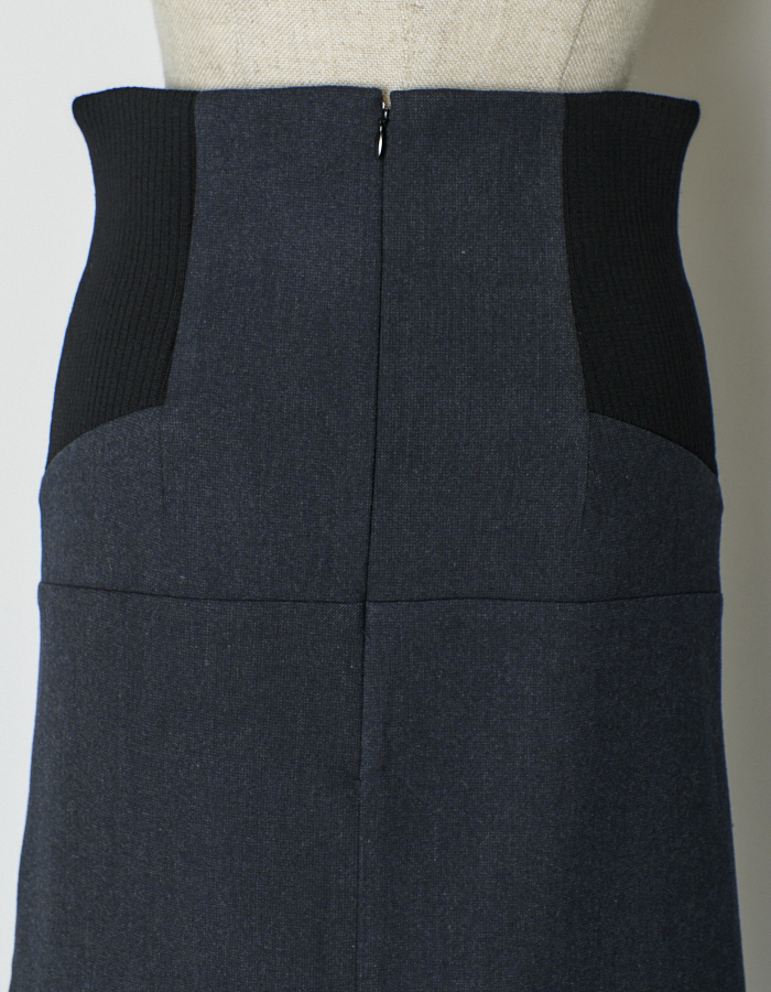 Knit Bonding Docking Skirt / black