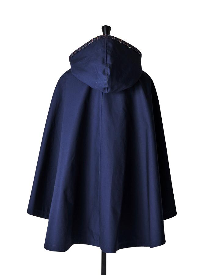 Tweed piping Cape Coat / navy