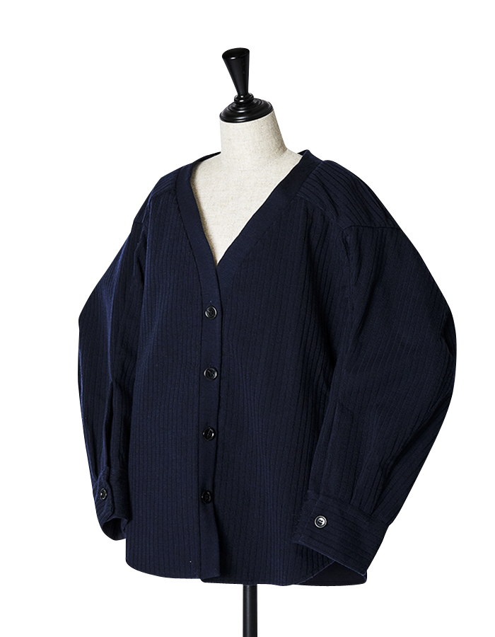 Knit Bonding Shirt Jacket / navy