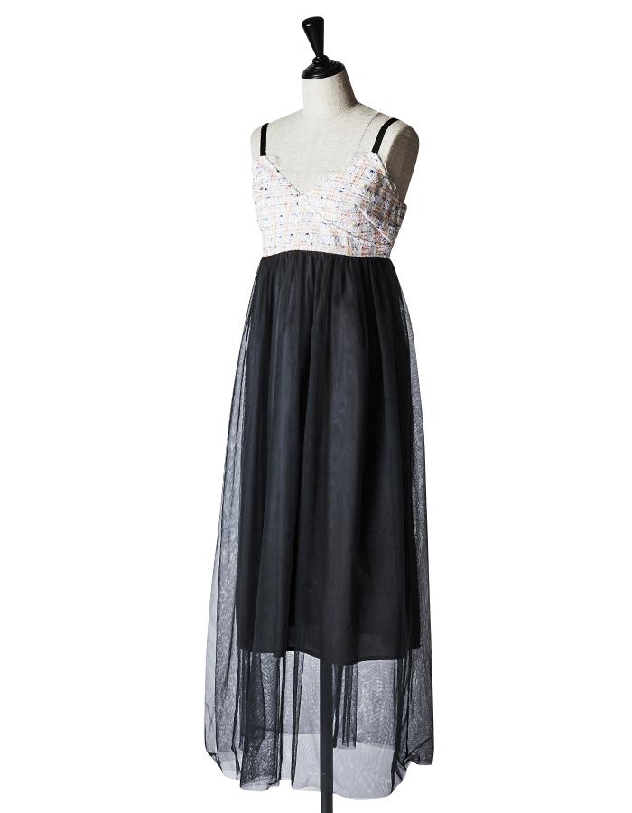 Tweed Tulle Dress / white