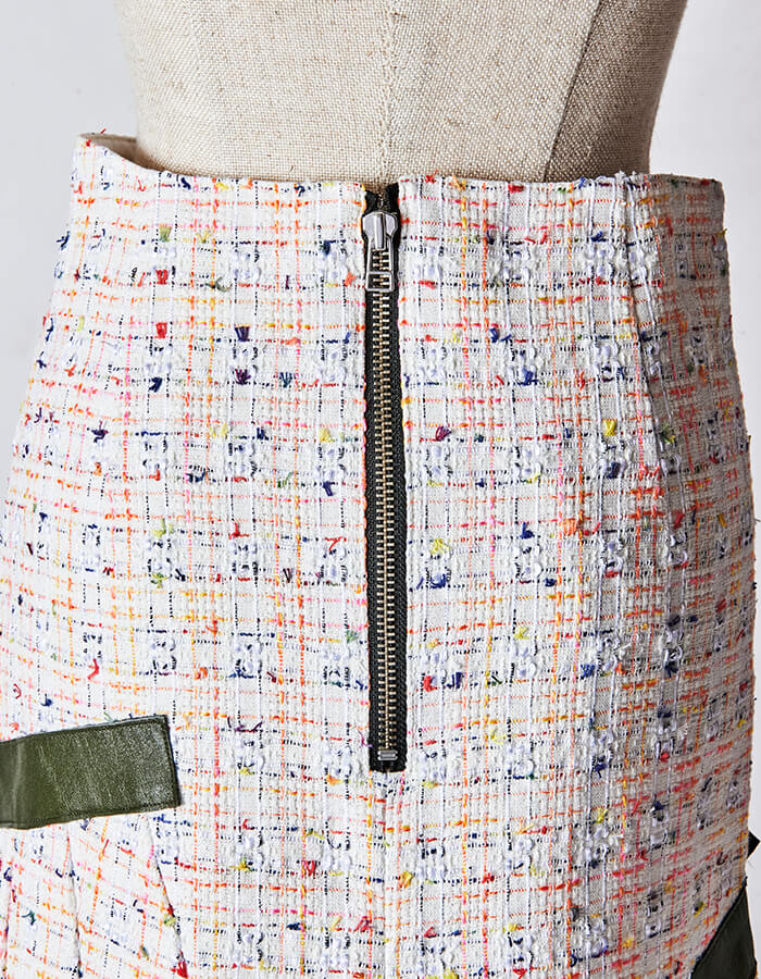 Tweed Belt Skirt / white