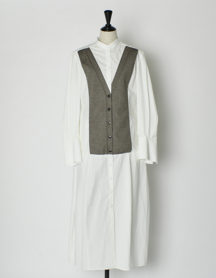 Stand Collar Bonding Shirt Dress / white