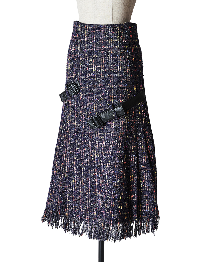 Tweed Belt Skirt / navy