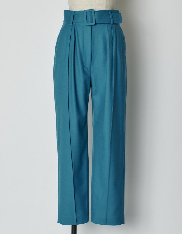 Belt Tuck Wool Pants / blue green