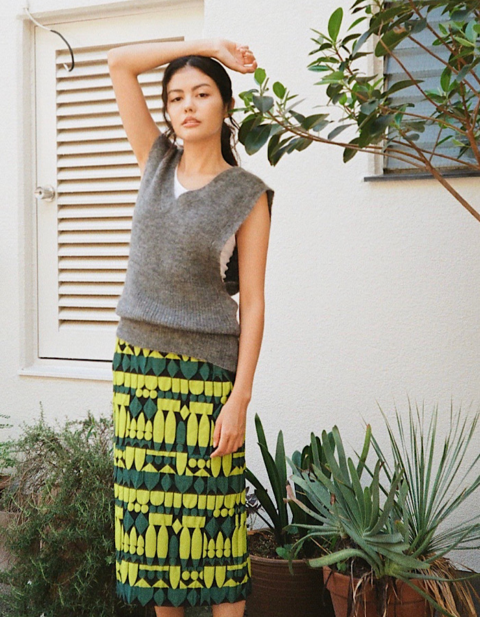 Mohair Knit Vest / gray