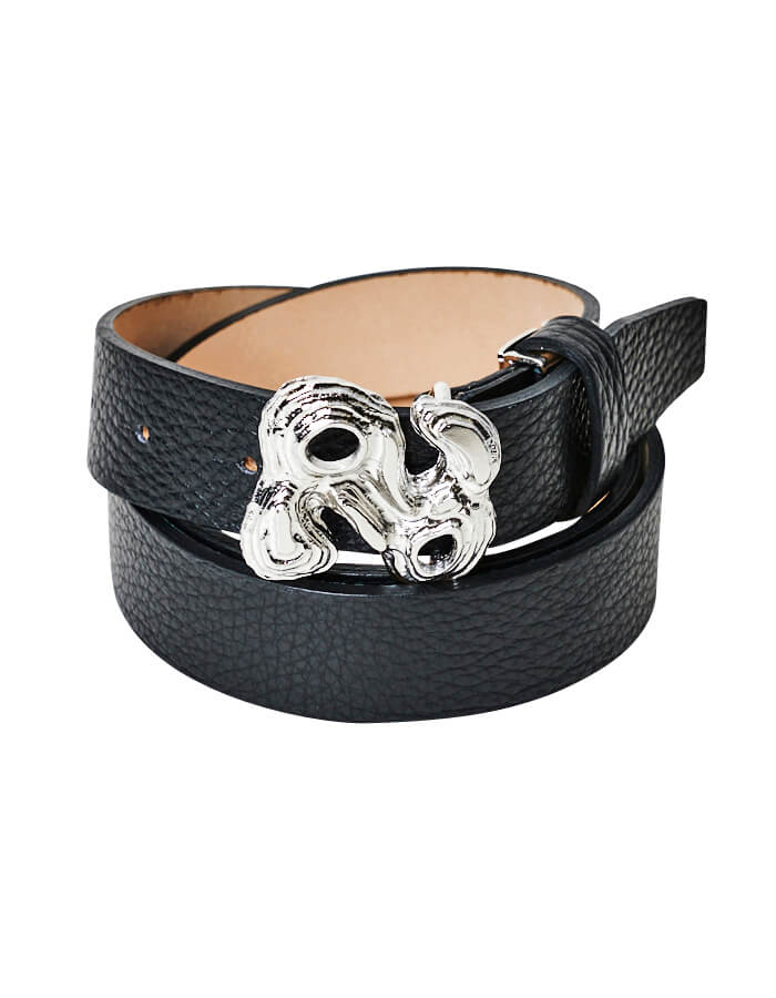 R Letter Leather Belt / silver